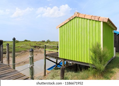 French wooden oyster hut in the France Charente Maritime