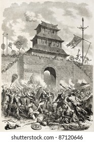 French-British army entrance in Beijing through Tchao-yant gate. Created by Worms, published on L'Illustration, Journal Universel, Paris, 1860