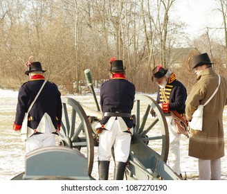 Frenchtown, MI/USA: Jan. 20, 2018 – Battle of River Raisin in War of 1812. Reenactors are dressed more warmly than original combatants who enlisted in summer expecting quick victory and glory.