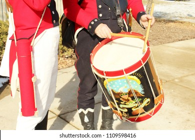 Frenchtown, MI/USA: Jan. 20, 2018 – Close-up of American Militia Musicians re-enactors with drum showing an eagle in the Battle of River Raisin in War of 1812.