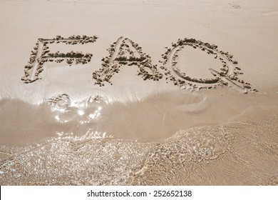 Frequently ask question concept, word faq written on beach