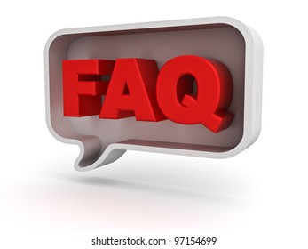 Frequently ask question concept, word faq in speech bubble on white background