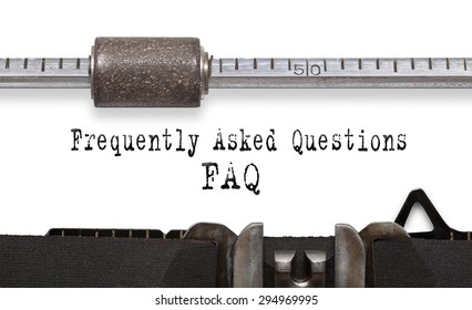 Frequently asked question (FAQ). Printed on an old typewriter.