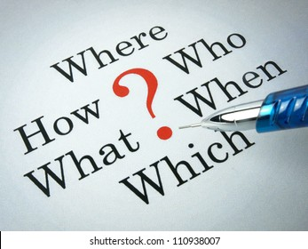 Frequently asked questions, which, where, how, what, who, when