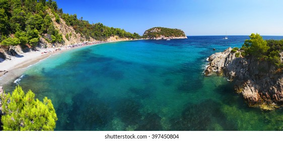 Frequently visited Stafilos beach, Skopelos island (Greece)
