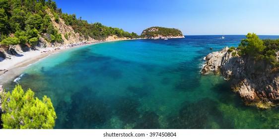 Frequently visited Stafilos beach, Skopelos island (Greece)