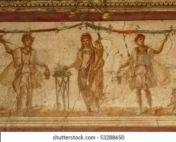 Fresco at the ancient Roman city of Pompeii, which was destroyed and buried during the eruption of Mount Vesuvius in 79 AD