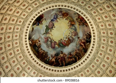 The fresco The Apotheosis of Washington adorns the interior of the dome of the U.S. Capitol building in Washington, D.C.  It was painted by Constantino Brumidi.