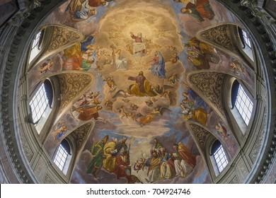 Fresco in the Basilica of Santa Maria degli Angeli e dei Martiri. Rome, Italy, June, 2017