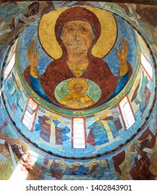 fresco depicting  image of  Mother of God on  dome of  St. Sophia Cathedral in Vologda. Russia, Vologda. May 10, 2019