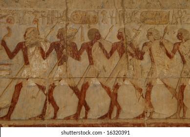 Fresco in Hathsepsut temple in Luxor, Egypt