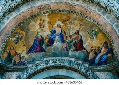Fresco on the exterior main entrance to the Basilica de San Marco in Venice Italy