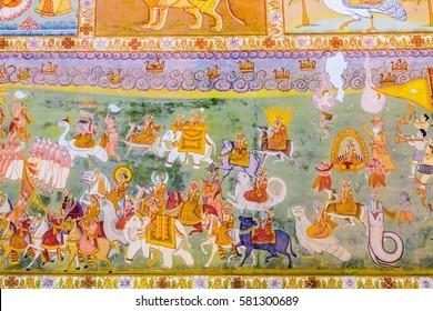 A fresco outside the Mehrangarh Fort depicting gods from Hindu mythology.