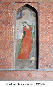 Fresco painting in Ali Qapu Royal palace in Isfahan, Iran
