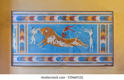 The fresco in the Palace of Knossos, Crete, Greece (Museum of the Minotaur).