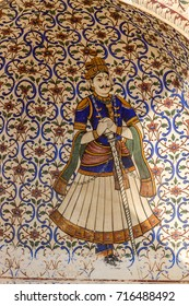A fresco  of a Rajput warrior in Jaipur, India.