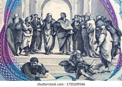Fresco the School of Athens from old Italian money