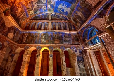 Frescos and murals in ancient cave church painted in  directly onto rock,Goreme,Cappadocia,Turkey