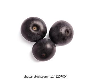 Fresh acai berries on white background
