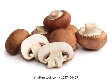 Fresh agaricus bisporus or portobello mushrooms on white background