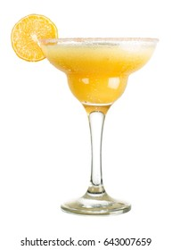 Fresh alcoholic cocktail of mango margarita. Tequila, triple sec, mango puree, peach juice, ice. Cocktail on a white background.