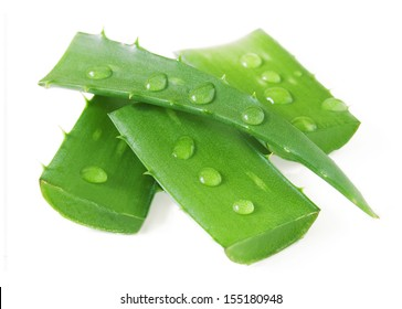 Fresh aloe vera leaves with water drops isolated on white background