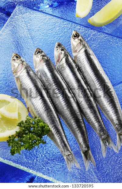 fresh anchovies on blue background