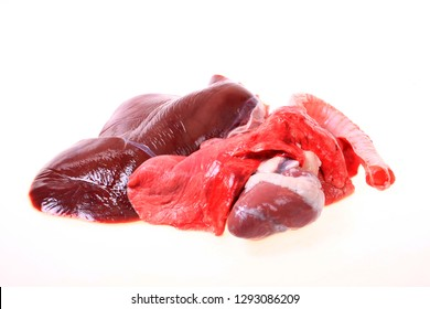 Fresh animal offal on white background