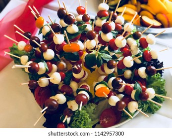 Fresh appetizer with tomatoes and mozzarella cheese