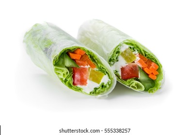 Fresh appetizing vegetarian  rolls in a rice paper isolated