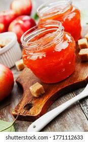 Fresh apple jam on the wooden table