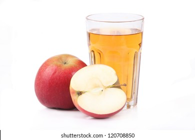 Fresh apple juice -  isolated on white