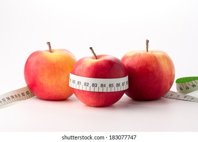 Fresh apples with centimeter