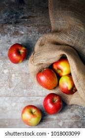 Fresh apples from orchard in old hessian sack