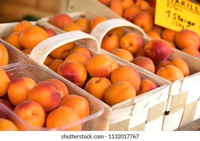 A lot of fresh Apricot in basket for sell at  Wachau Krems Austria.