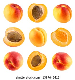 Fresh apricot fruits half. Apricot isolated on white background. Apricot collection Clipping Path. Professional studio macro shooting