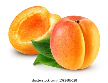 Fresh apricot fruits. Apricot isolated on white background. Apricot Clipping Path. Sweet apricots with leafs on white