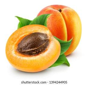 Fresh apricot fruits. Apricot isolated on white background. Apricots with leaf and half apricot fruit. Apricot Clipping Path.