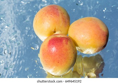 Fresh apricots, healthy food, red, yellow, green