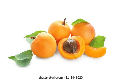 Fresh apricots on white background