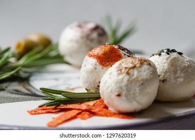 Fresh arabic cheese macro with Rosemary, Nigella, Kalindzhi, Sumy, Garam Masala