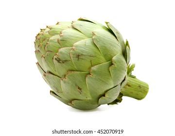 Fresh artichoke isolated on white background