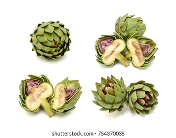 fresh artichoke isolated on white background