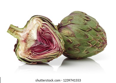 Fresh artichokes isolated on white background. Studio shot