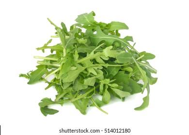 fresh arugula leaves isolated on white
