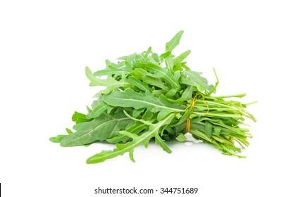 fresh arugula leaves on white background