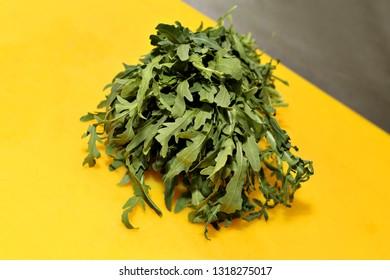 Fresh arugula leaves on yellow background, rucola. Bunch of arugula. Ingredient