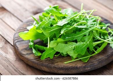 Fresh arugula leaves, rucola