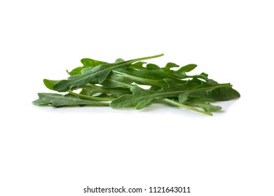 Fresh arugula salad isolated on white background. Top view. Fresh arugula leaves with copy space for text. Ruccola leaf isolated on white background on white background.
