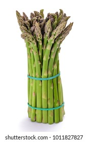 Fresh asparagus bunch isolated on white background